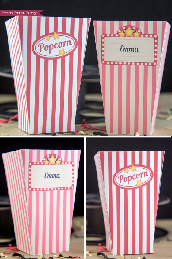 graphic about Printable Popcorn Boxes referred to as Popcorn Box Printables