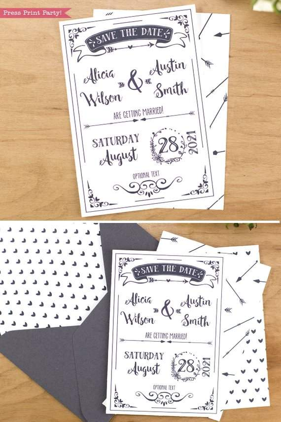 save the dat card printable with arrow and hear pattern and address label