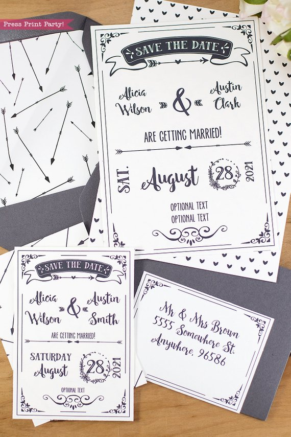 rustic wedding save the date cards press print party