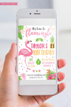 flamingo invitation for tropical birthday party - Press PrintParty instant digital download