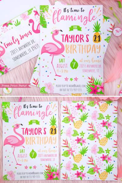 Flamingo party Invitation with girl pink flamingos - Printables by Press Print Party!