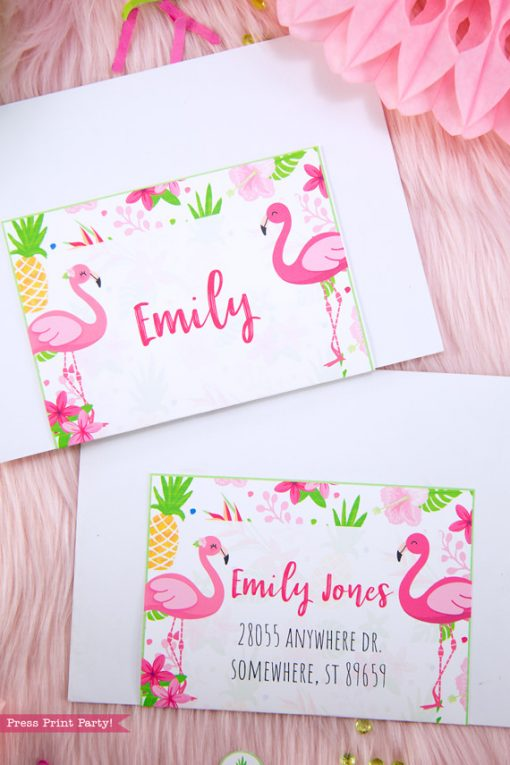 Flamingo party Invitation envelopes with labels with girl and boy pink flamingos - Printables by Press Print Party!