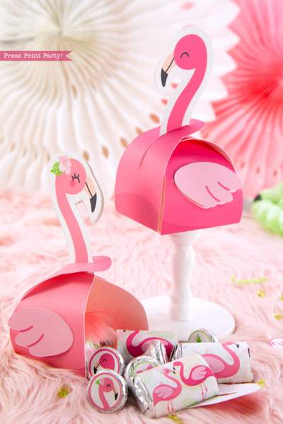 Flamingo party favor boxes and favor bags with girl and boy pink flamingos - Printables by Press Print Party!