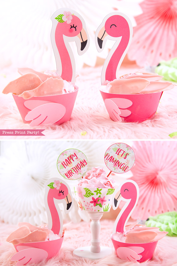 flamingo cupcake toppers amp wrappers printable press