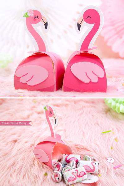 Flamingo party favor boxes DIY with boy and girl pink flamingos - Printables by Press Print Party!