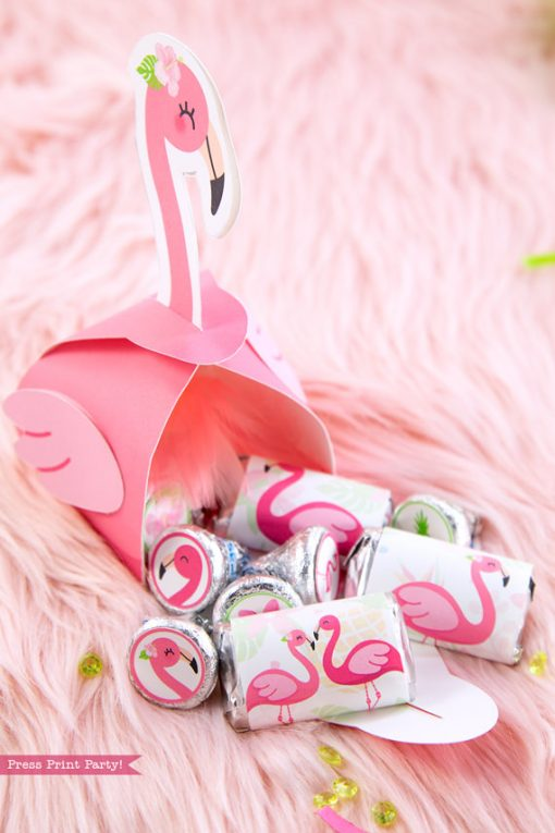 Flamingo party favor boxes DIY with girl pink flamingos and chocolate and kisses inside - Printables by Press Print Party!