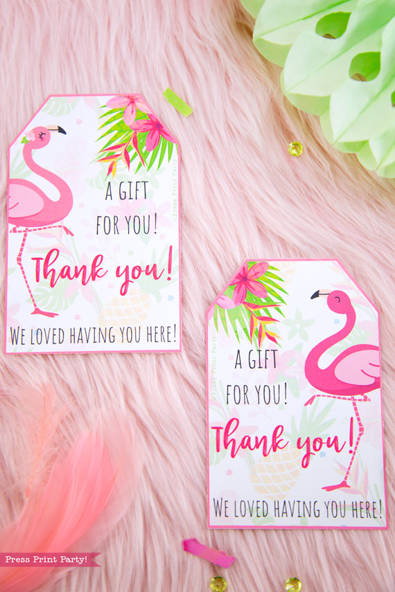 Flamingo party favor tags with girl and boy pink flamingos - Printables by Press Print Party!