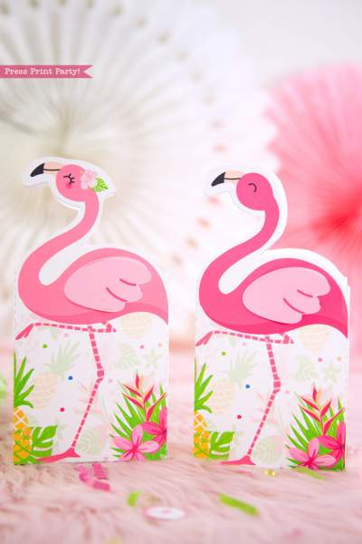 Flamingo party favor boxes or bags with girl and boy pink flamingos - Printables by Press Print Party!