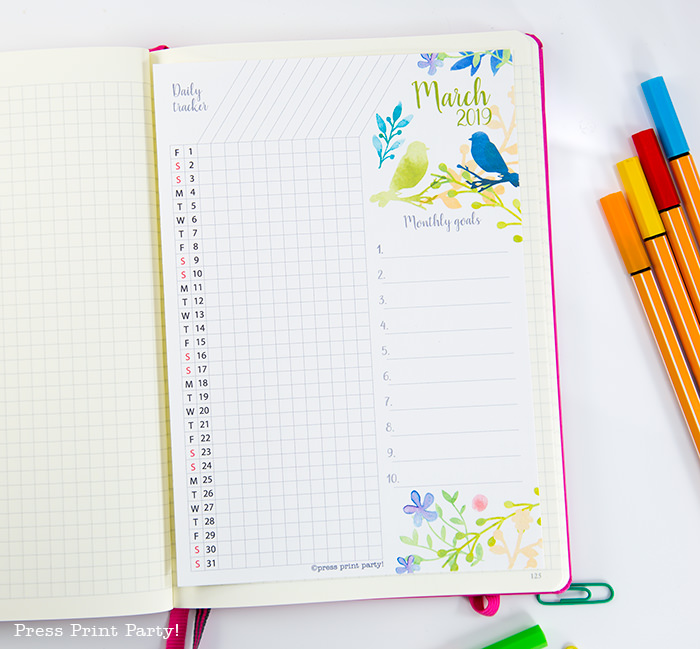 Bullet Journal Habit Tracker Printable - Press Print Party!