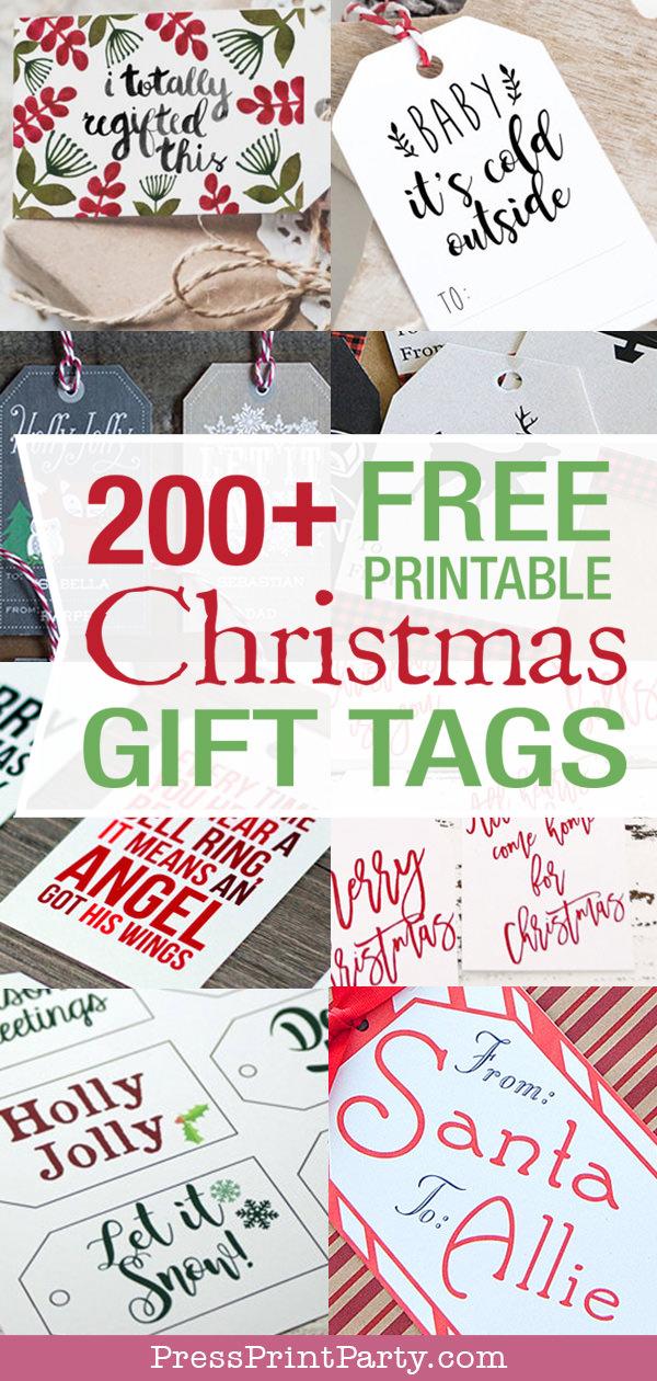 200+ Free Printable Christmas Gift Tags- Press Print Party!