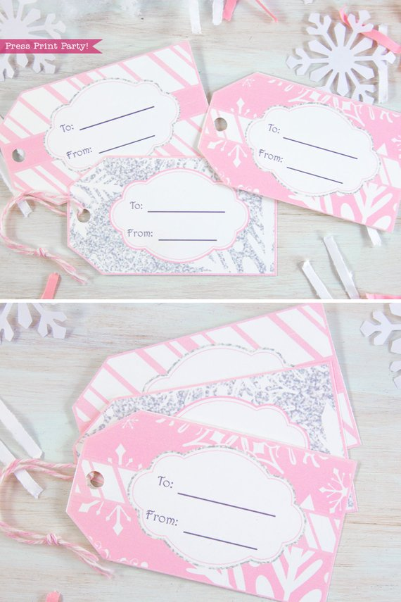 Winder ONEderland Printable birthday party favor tags - Christmas gift tags in pink and silver snowflakes - Press Print Party!