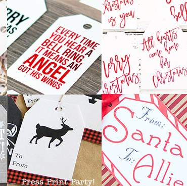 200+ Free Printable Christmas Gift Tags- Press Print Party!