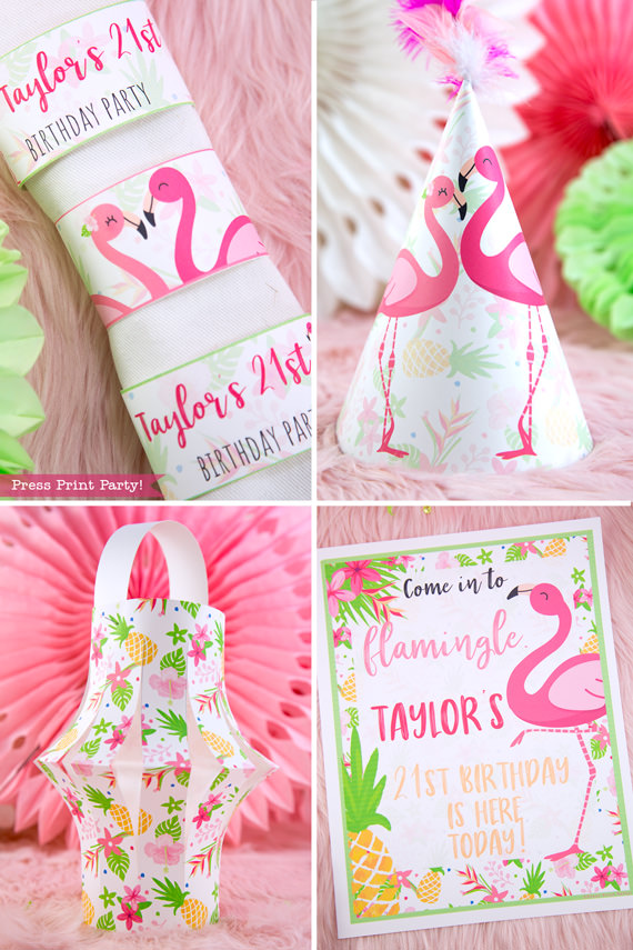 Flamingo party napking rings, party hat, party lantern decor, and sign with girl and boy pink flamingos - Printables by Press Print Party!