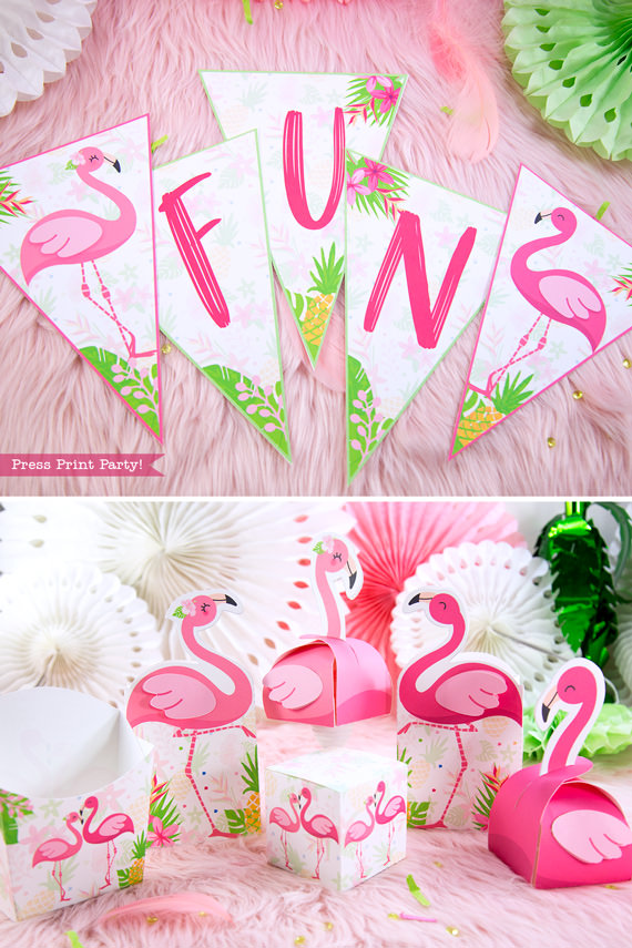 Flamingo party banner and boxes with girl and boy pink flamingos - Printables by Press Print Party!