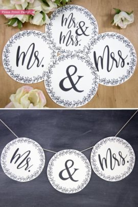 Rustic Wedding banner mr and mrs - Rustic Leaf Design- Press Print Party!