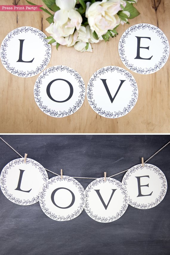 Rustic Wedding banner mr and mrs - print your own letters -Rustic Leaf Design- Press Print Party!