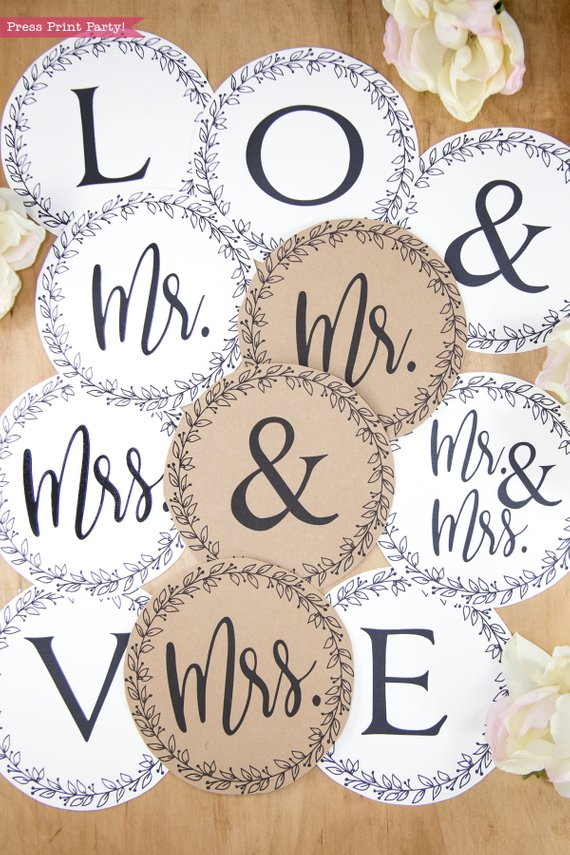 Rustic Wedding banner mr and mrs - print your own letters - Kraft - Rustic Leaf Design- Press Print Party!