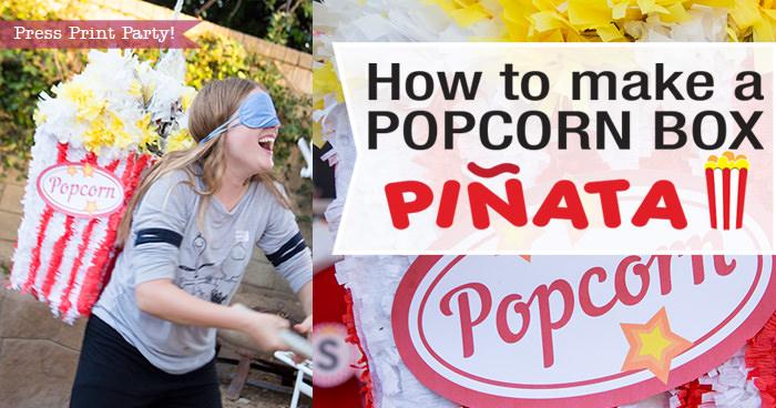 How to make a popcorn box Pinata - DIY by Press Print Party! Girl whacking pinata
