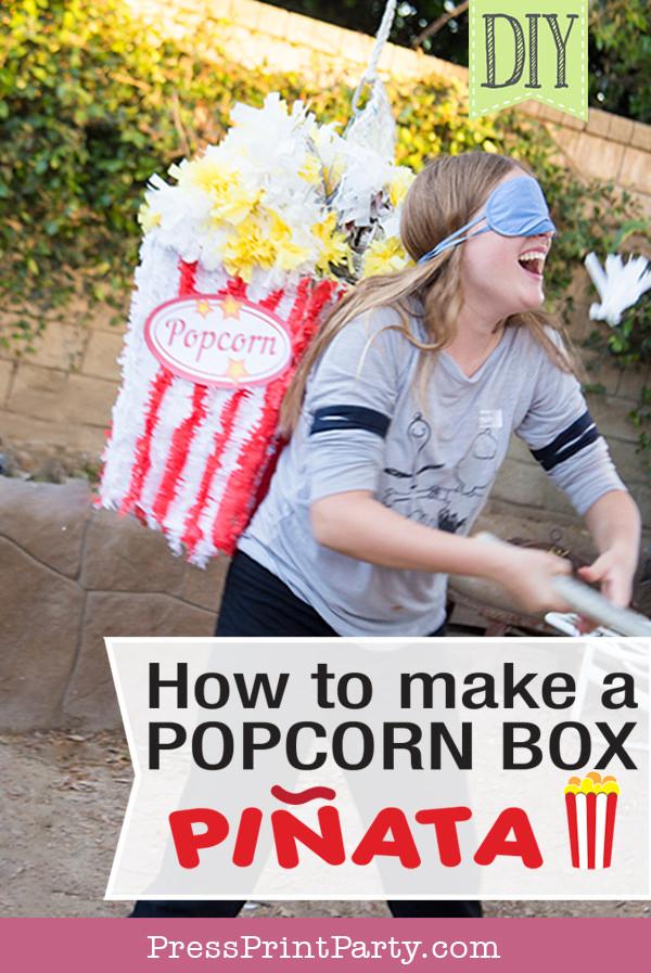 How to make a popcorn box Pinata - DIY by Press Print Party!