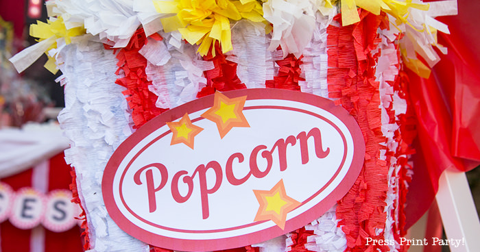 popcorn sign on pinata