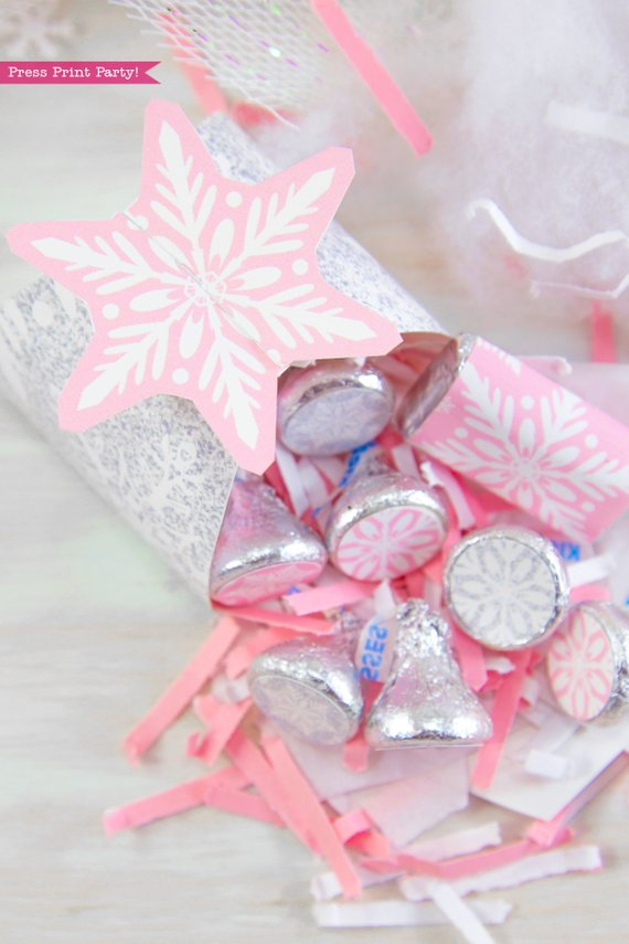 Winder ONEderland Printable birthday party favor box in pink and silver snowflakes - Press Print Party!