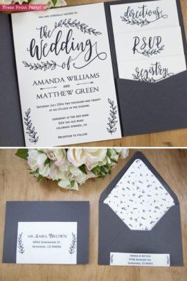 Rustic Wedding Invitation Template Printable Set, Wedding Invitation Suite, w rsvp cards, envelope insert, address label, & more cards - Rustic Leaf Design- Press Print Party!