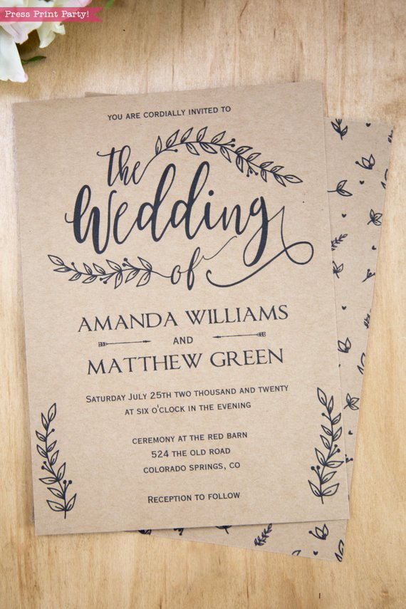 Rustic Wedding Invitation Template Leaf Design Press Print Party