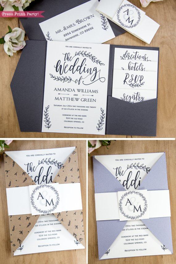 Rustic Wedding Invitation Template Printable Set, Wedding Invitation Suite, w rsvp cards, envelope insert, address label, & more cards - Rustic Leaf Design- Press Print Party!