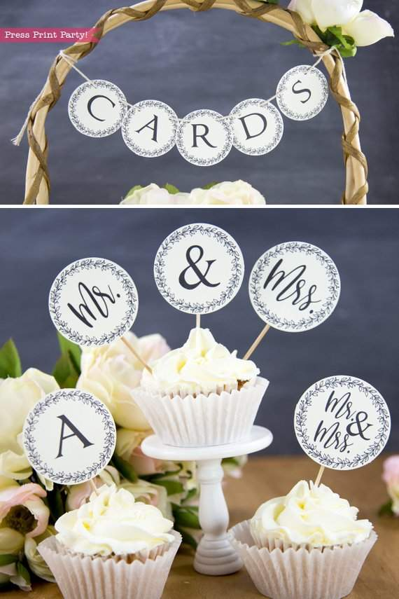Rustic Wedding Invitation Template Printable Set, Wedding Invitation Suite, w cupcake toppers mr and mrs - Rustic Leaf Design- Press Print Party!