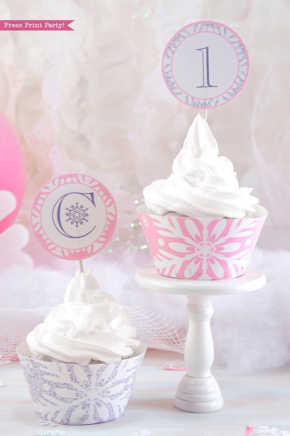 photo about Printable Cake Toppers titled Winter season ONEderland Cake Toppers Wrappers Printable, Purple