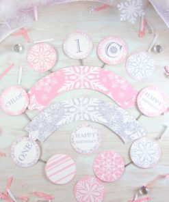 Winder ONEderland Printable girl birthday party cupcake wrappers and toppers pink and silver snowflakes - Press Print Party!
