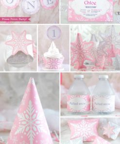 Winder ONEderland Printable birthday party decorations, invitation, favor box, cupcake wrappers, bottle wrappers, in pink and silver snowflakes - Press Print Party!