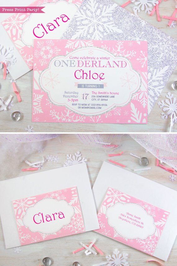Winder ONEderland Printable girl birthday party invitation in pink and silver snowflakes - Press Print Party!