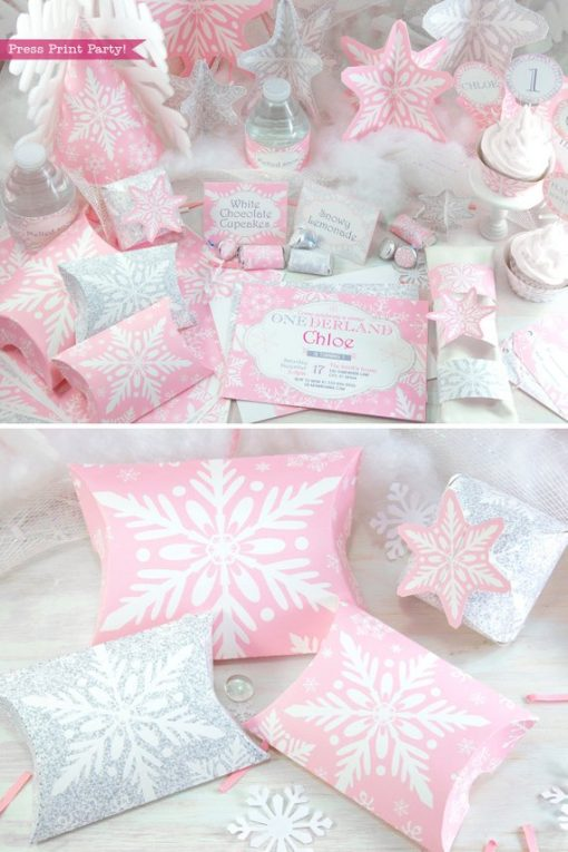 Winder ONEderland Printable birthday party decorations, favor boxes, invitation, place card, napkin rings, in pink and silver snowflakes - Press Print Party!