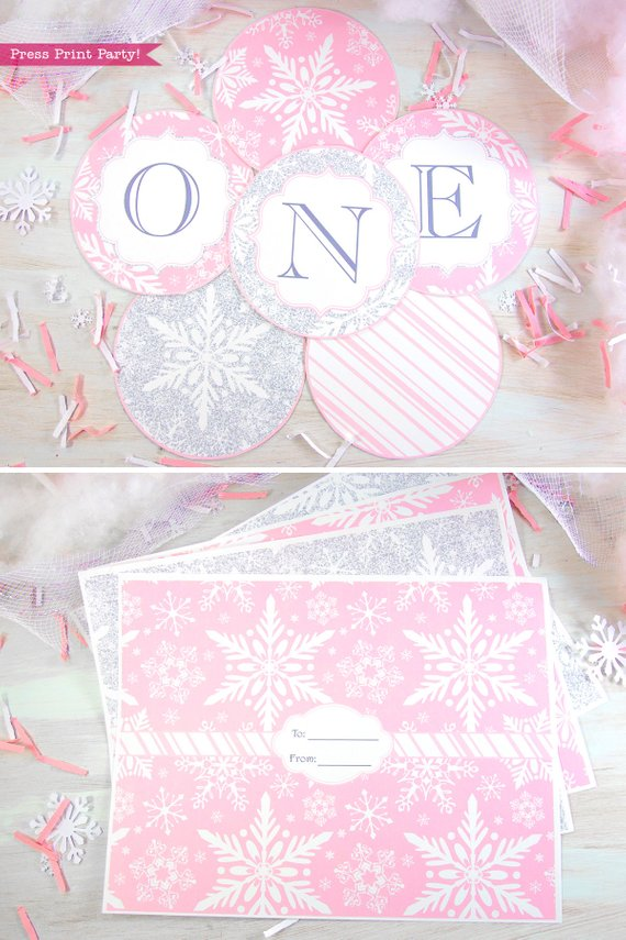 Winder ONEderland Printable birthday party banner and gift wrap in pink and silver snowflakes - Press Print Party!