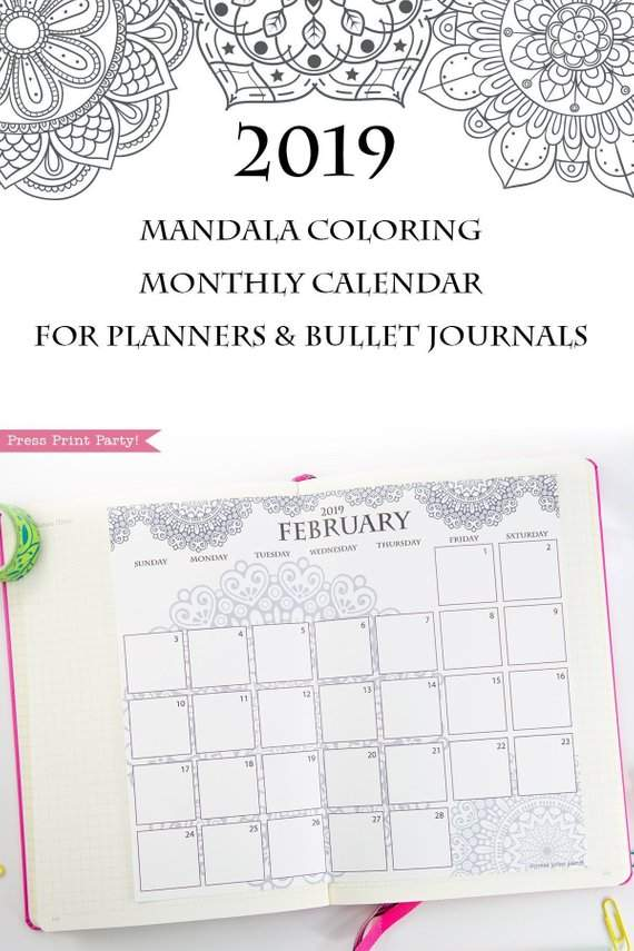2019 calendar printable monthly calendar mandala coloring for bullet journals or a5 planners