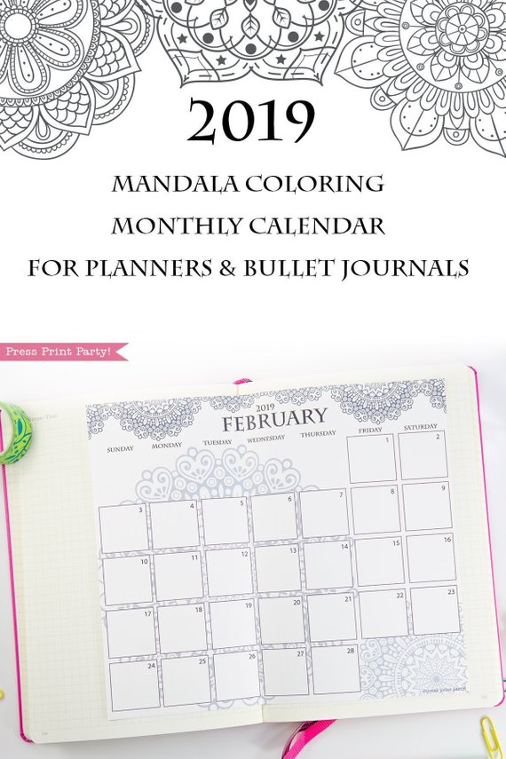 image about Bullet Journal Calendar Printable known as 2019 Calendar Printable, Mandala Coloring Design and style