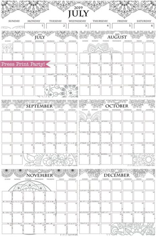 2019 Calendar Printable, Monthly Calendar, Mandala coloring. For bullet journals or A5 planners. Press Print Party!