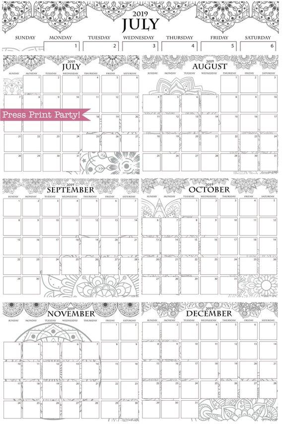 2019 Calendar Printable Mandala Coloring Design Press Print Party