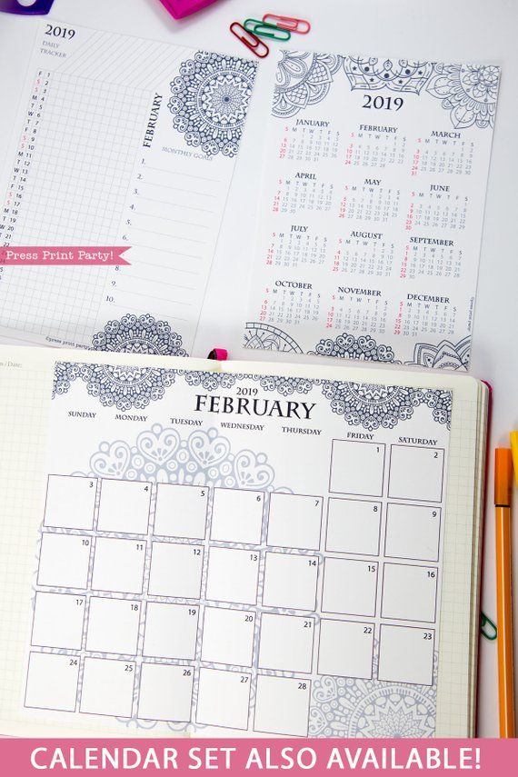 2019 Yearly Calendar Printable Mandala Coloring Press