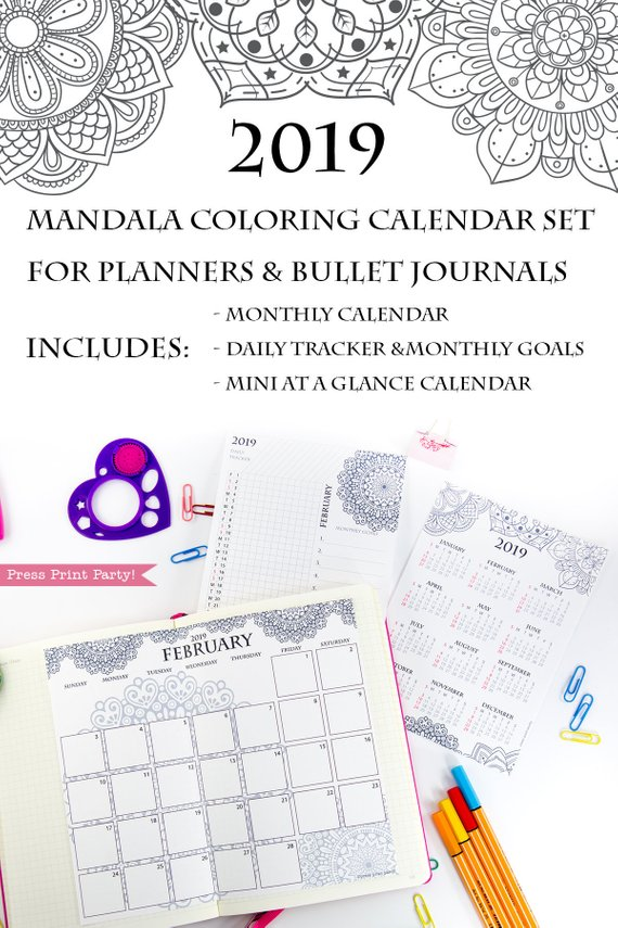 2019 calendar printable set monthly calendar daily task tracker mini at a glance