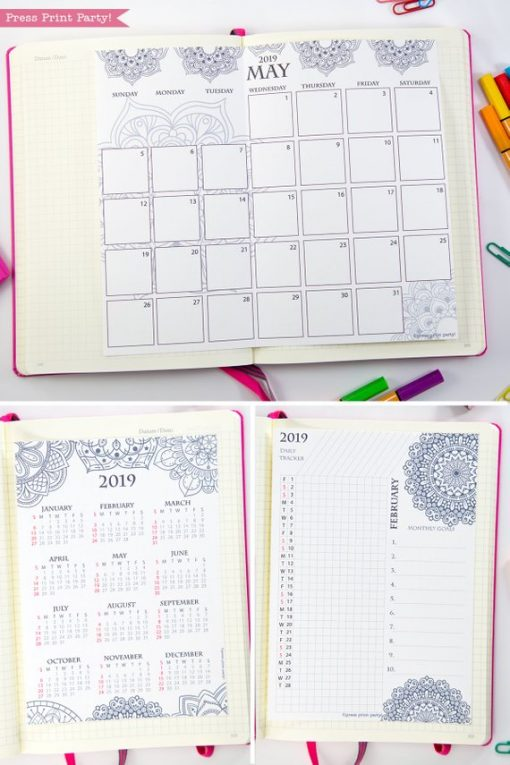 2019 Calendar Printable Set, Monthly Calendar, Daily task tracker, mini at a glance calendar, Mandala coloring. For bullet journals or A5 planners. Press Print Party!