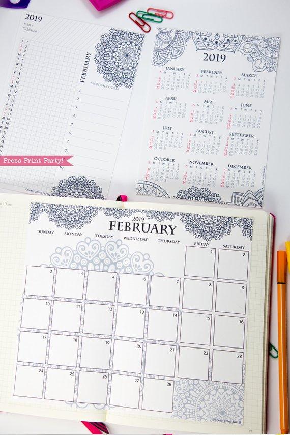 2019 Calendar Set Printable, Mandala Coloring Design ...