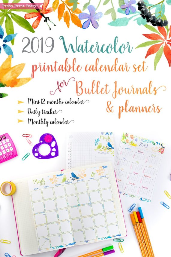 image regarding Watercolor Printable named 2019 Month to month Calendar Printable Fixed, Watercolor Layout