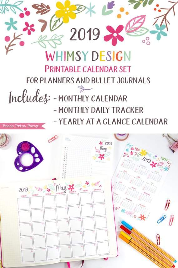 2019 Calendar Printable Set Whimsy Design Press Print Party