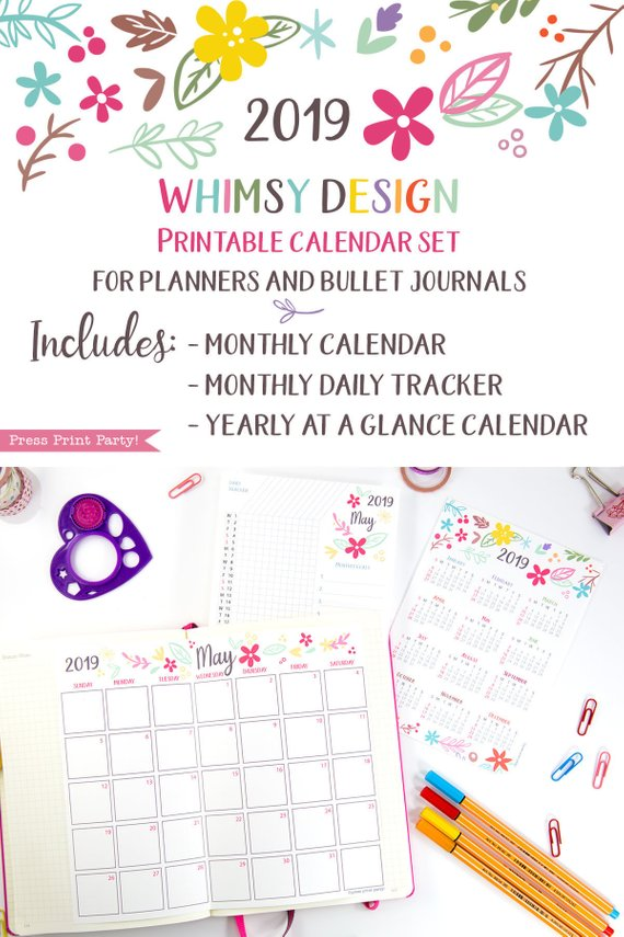 2019 Printable Calendar Set, Monthly Calendar, Daily task tracker, mini at a glance calendar, whimsy designs. For bullet journals or A5 planners. Press Print Party!
