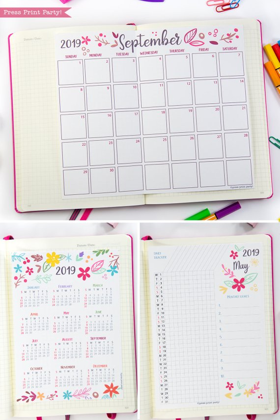 2019 Calendar Printable Set Monthly Calendar, Daily task tracker, mini at a glance calendar, whimsy designs. For bullet journals or A5 planners. Press Print Party!