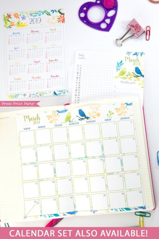 2019 Printable Calendar Set, Monthly Calendar, Daily task tracker, mini at a glance calendar, habit tracker, goal setting, watercolor designs. For bullet journals or A5 planners. Press Print Party!