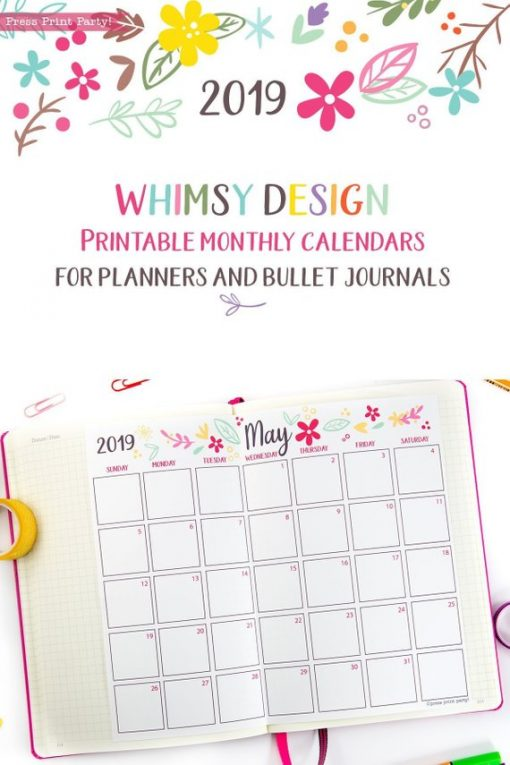 2019 Calendar Printable, Monthly Calendar, whimsy designs. For bullet journals or A5 planners - bujo. Press Print Party!
