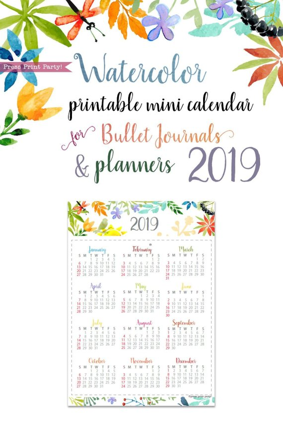 image about Whole 30 Calendar Printable identified as 2019 Mini Calendar Printable, Watercolor Layout
